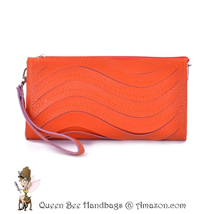 SUNSET ORANGE - A cute and trendy clutch style wallet purse, with a wave laser cut detailing. Great for casual daytime fashion wear. Optional shoulder strap. $13.99 on Amazon.com. #clutches #wallets #purses #lasercut