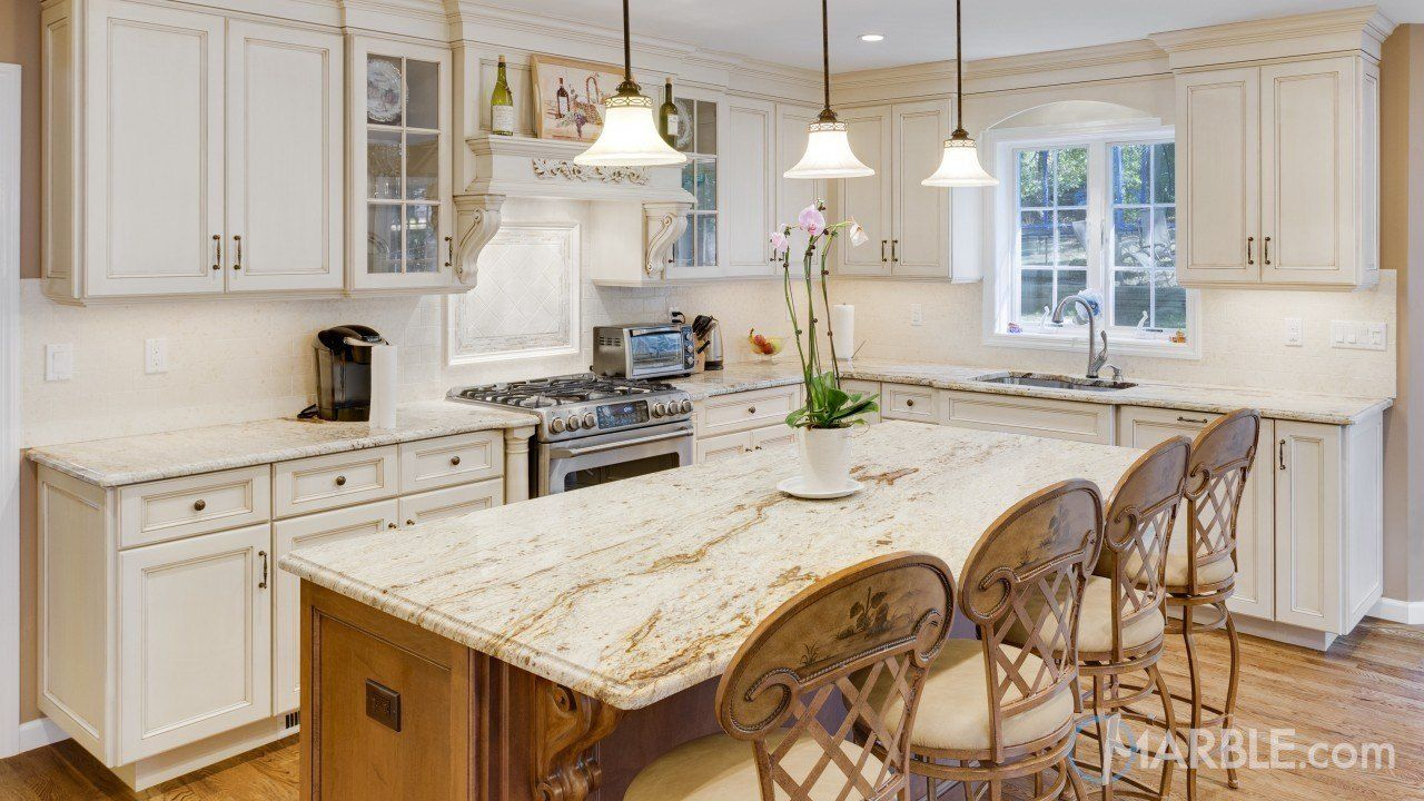 This Kitchen Is Illuminated By A Great Piece Of New Gold Antique Granite With An Og Kitchen Design Countertops Granite Countertops Kitchen Dream Kitchen Island