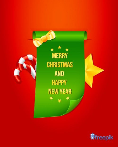 Merry X-Mas & Happy New Year Parchment with Sweets Free Vector