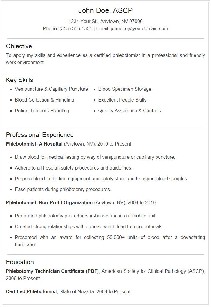 free phlebotomy resume samples