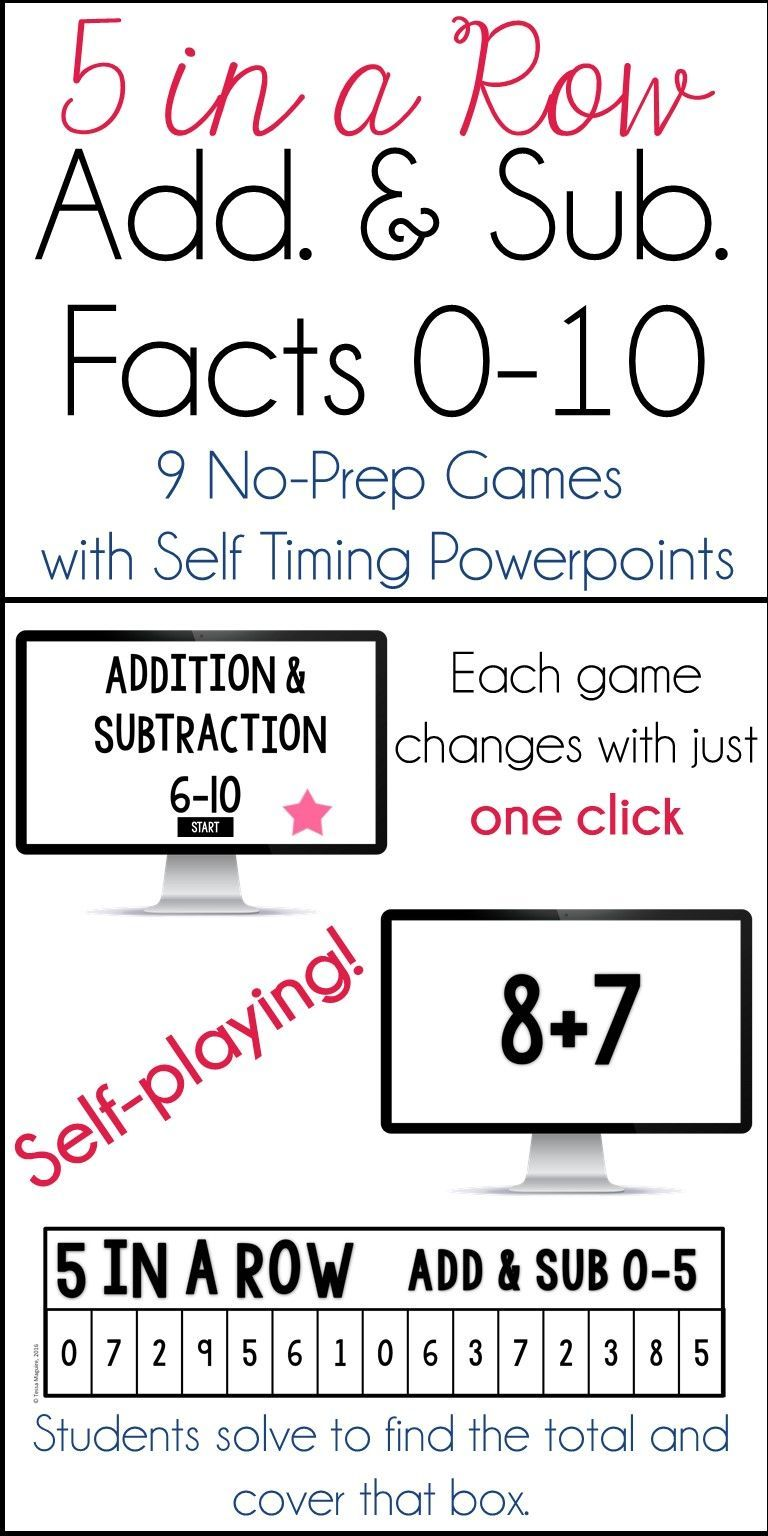 Addition & Subtraction Fact Fluency 5 in a Row: 9 No Prep Games ...
