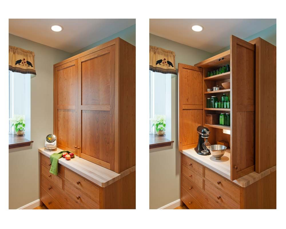 Best Custom Baking Center Pantry Handcrafted From Cherry With A 400 x 300