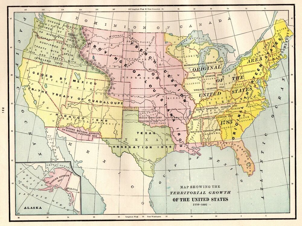 1891 Antique UNITED STATES Map Territorial Growth USA Map Gallery ...
