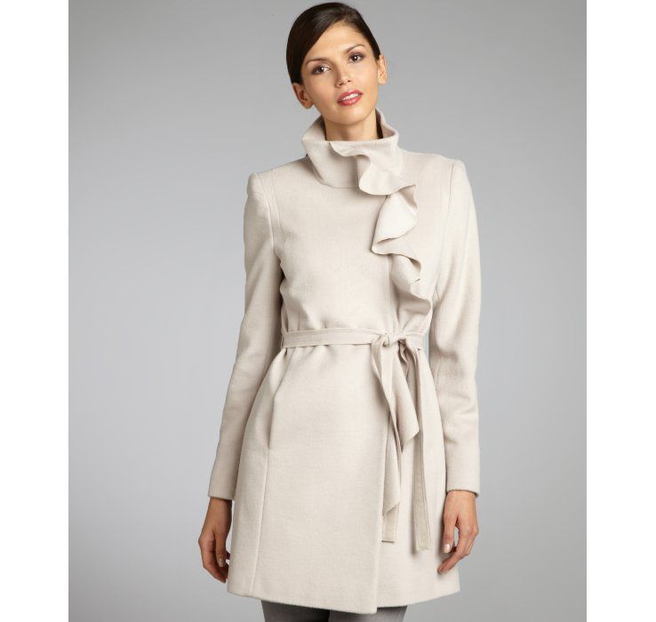 Tahari warm ivory wool blend ruffle front belted coat