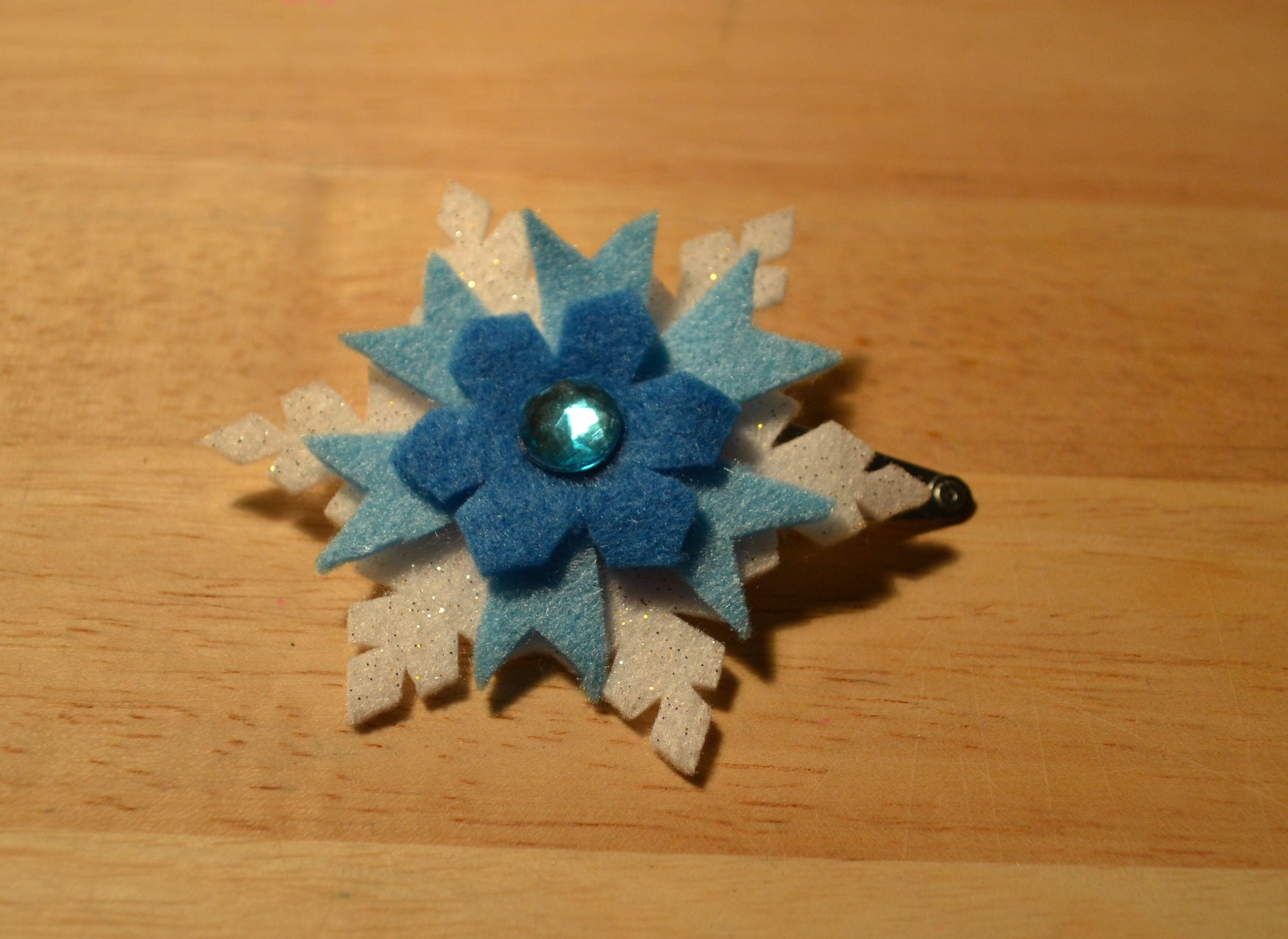 felt snowflake hair clip - inspired