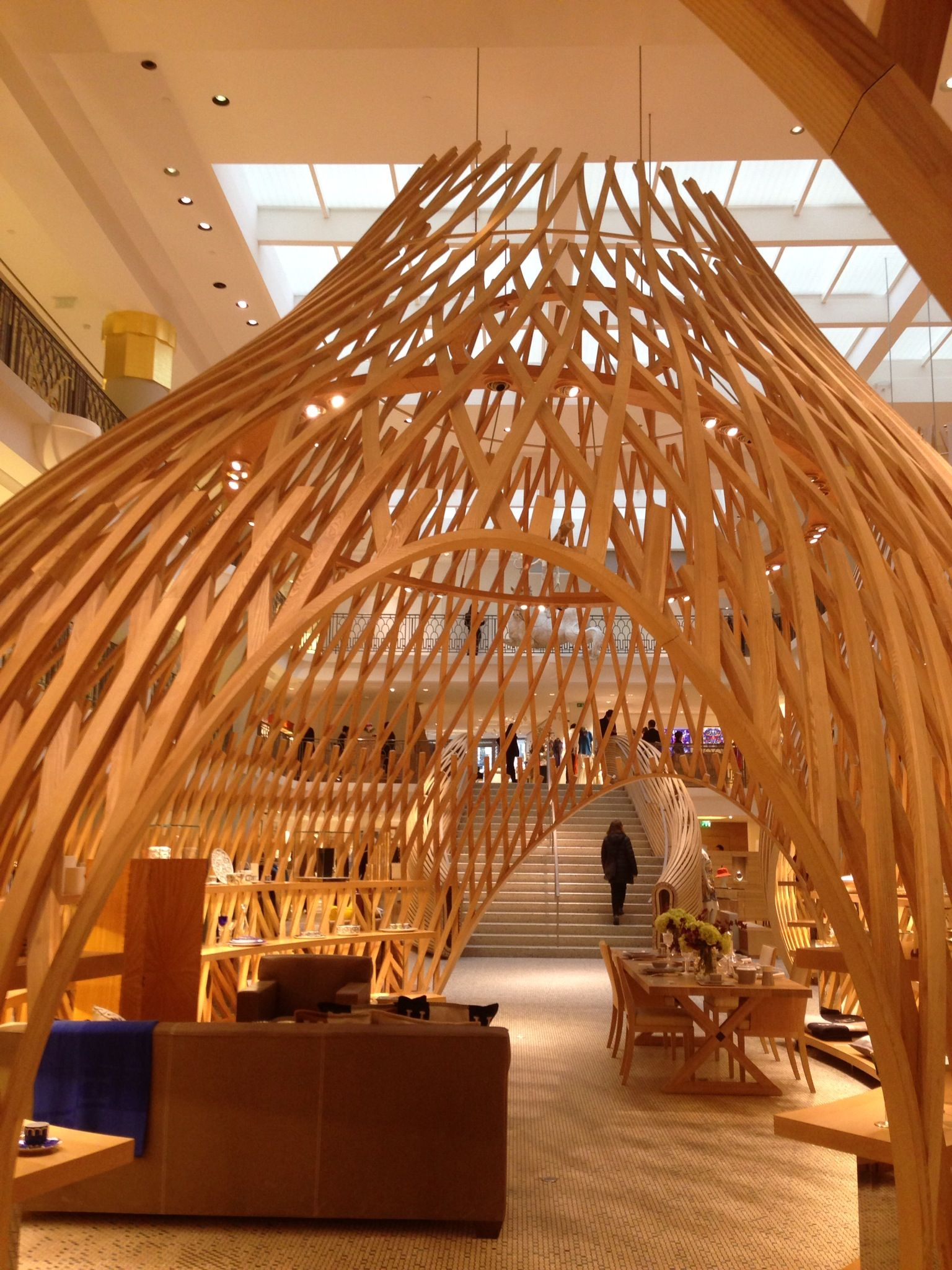 Paris Timber latticed structures of the interior Hermes store