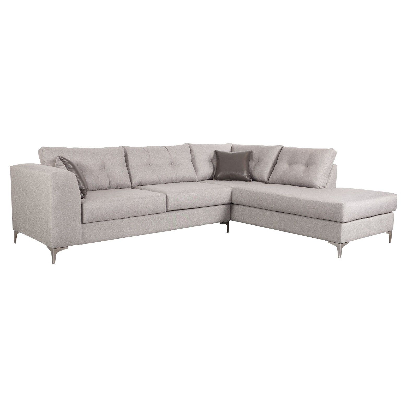 Zm home upholstered and polished stainless steel pc rhf sectional