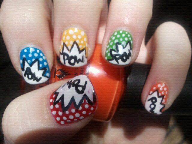 Comic book POW Nail art by Cassidy (when a teenager) | CASSIDY\'S ...