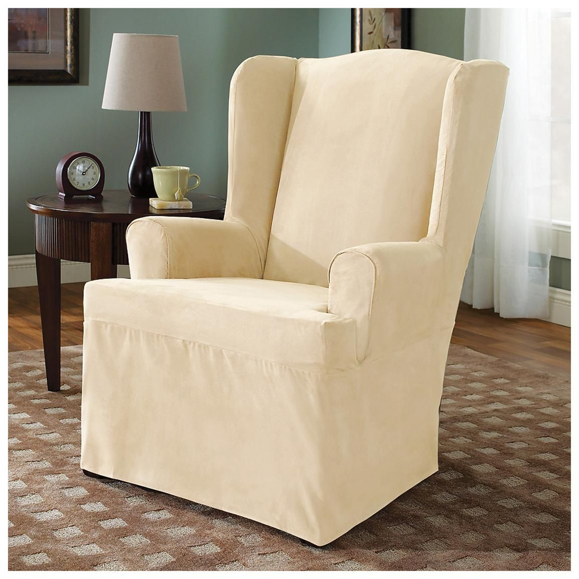 Microsuede Wing Chair Furniture Cover, Cream Slipcovers