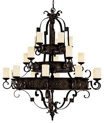 "Rustic - Lodge River Crest Collection 20-Light 61"" Wide Candle Chandelier traditional chandeliers"