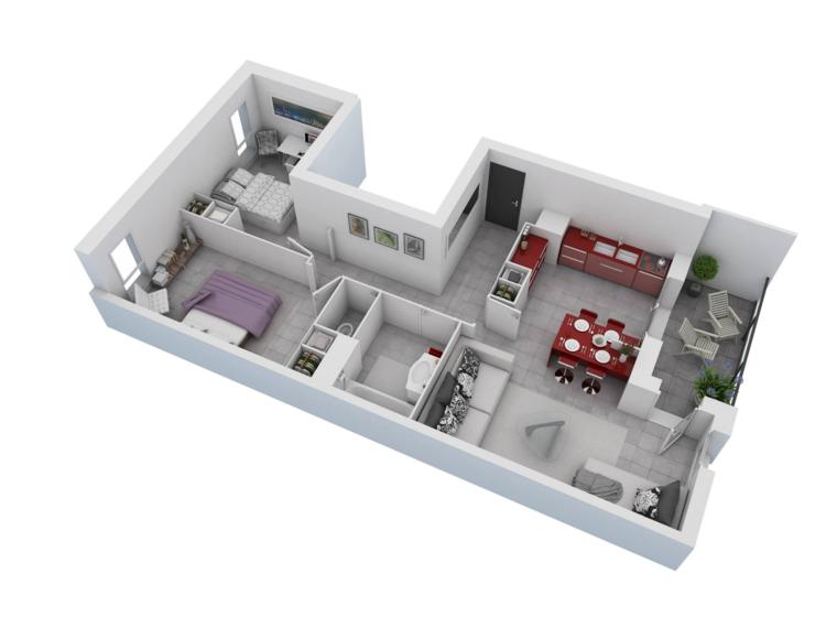 Plan Maison 3D Du0027appartement 2 Pièces En 60 Exemples