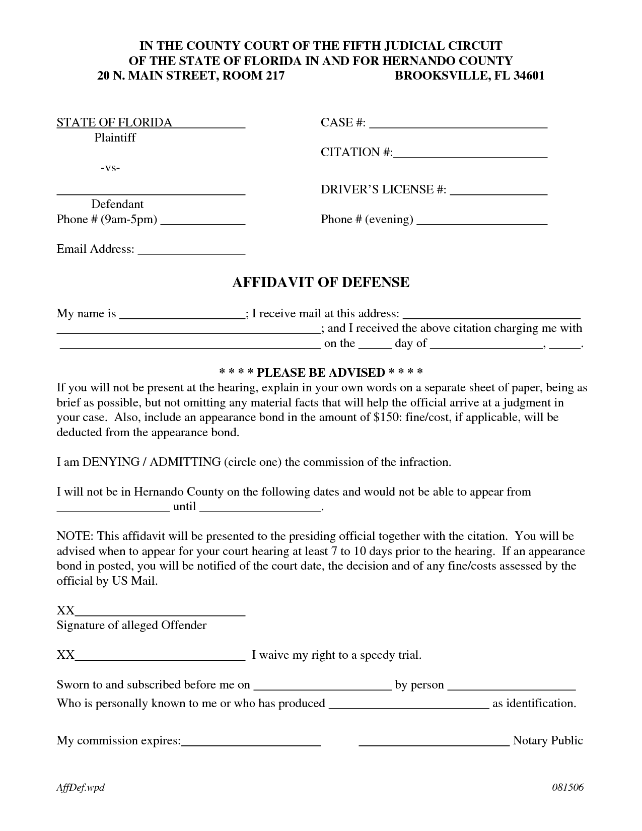 Affidavit Of Defense Template By RichardCataman  Affidavit
