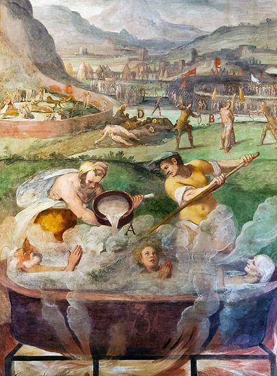Niccolò Pomarancio, Martyrdom of Sts Vitus, Modestus, and Crescentia, 1583, Rome, Santo Stefano Rotondo