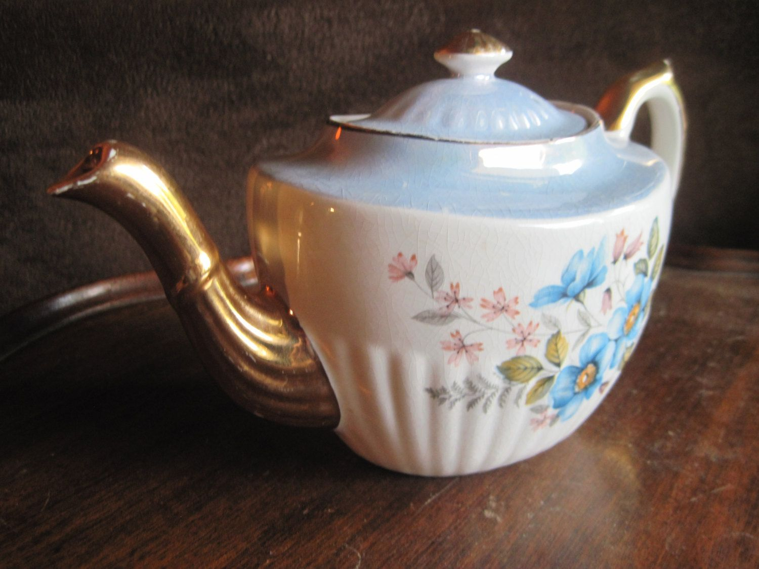 vintage Gibson china teapot and lid,Staffordshire,England,white and ...