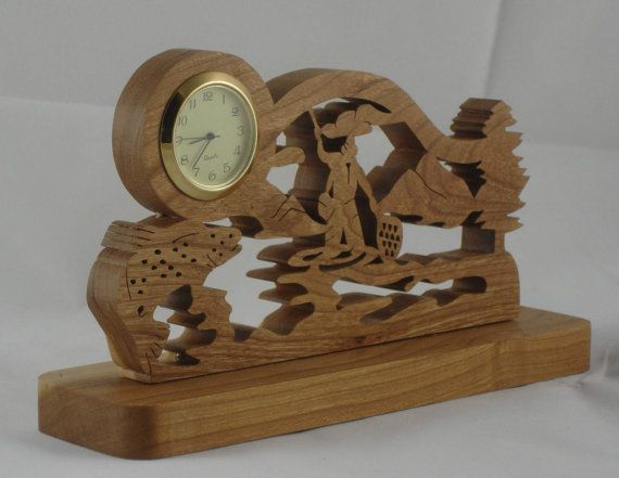 Trout Fishing Scene Desk Clock Handmade From Cherry Wood 1 7 16