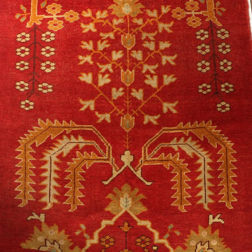 Vintage Hand Knotted Turkish Oushak Wool Long Rug Rugs Long Rug Rug Material