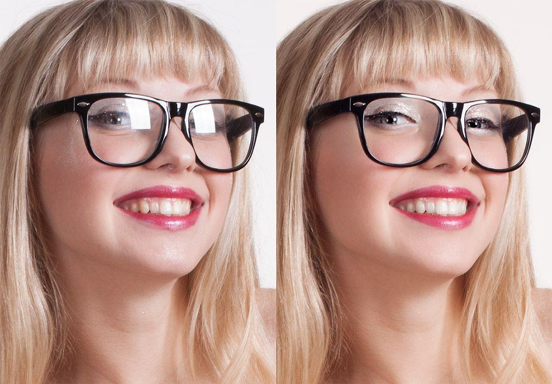 Eye Reflection Photoshop Glasses glare removal ...