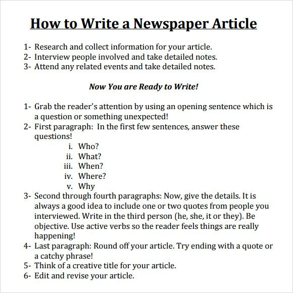 Write A Newspaper Article Newspaper Article Template Article