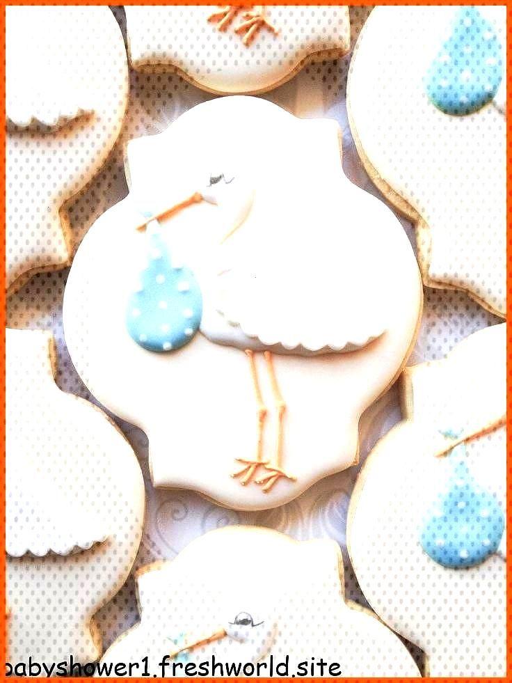 Elegant Pastel Blue Stork Baby Shower Cookies  One Dozen Decorated Sugar Cookies Elegant Pastel Blu