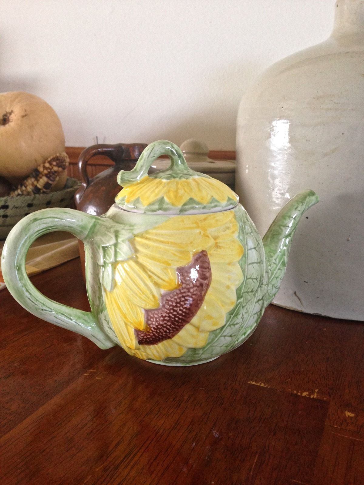 Vintage Ceramic Sunflower Teapot Hand Painted Exclusively for ...