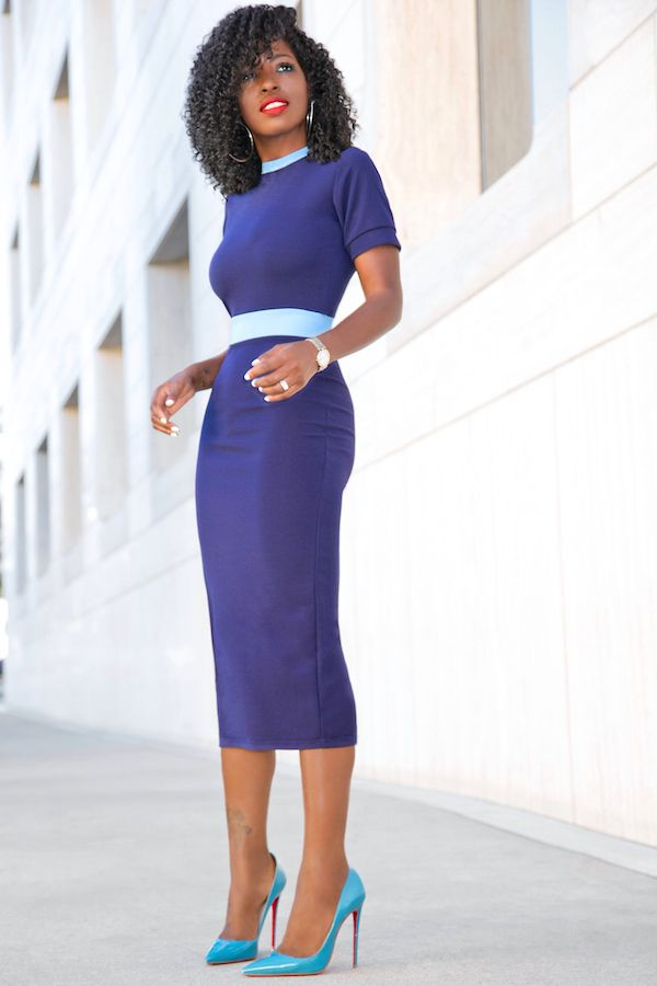 Style Pantry | Navy Blue Dress With Baby Blue Contrast