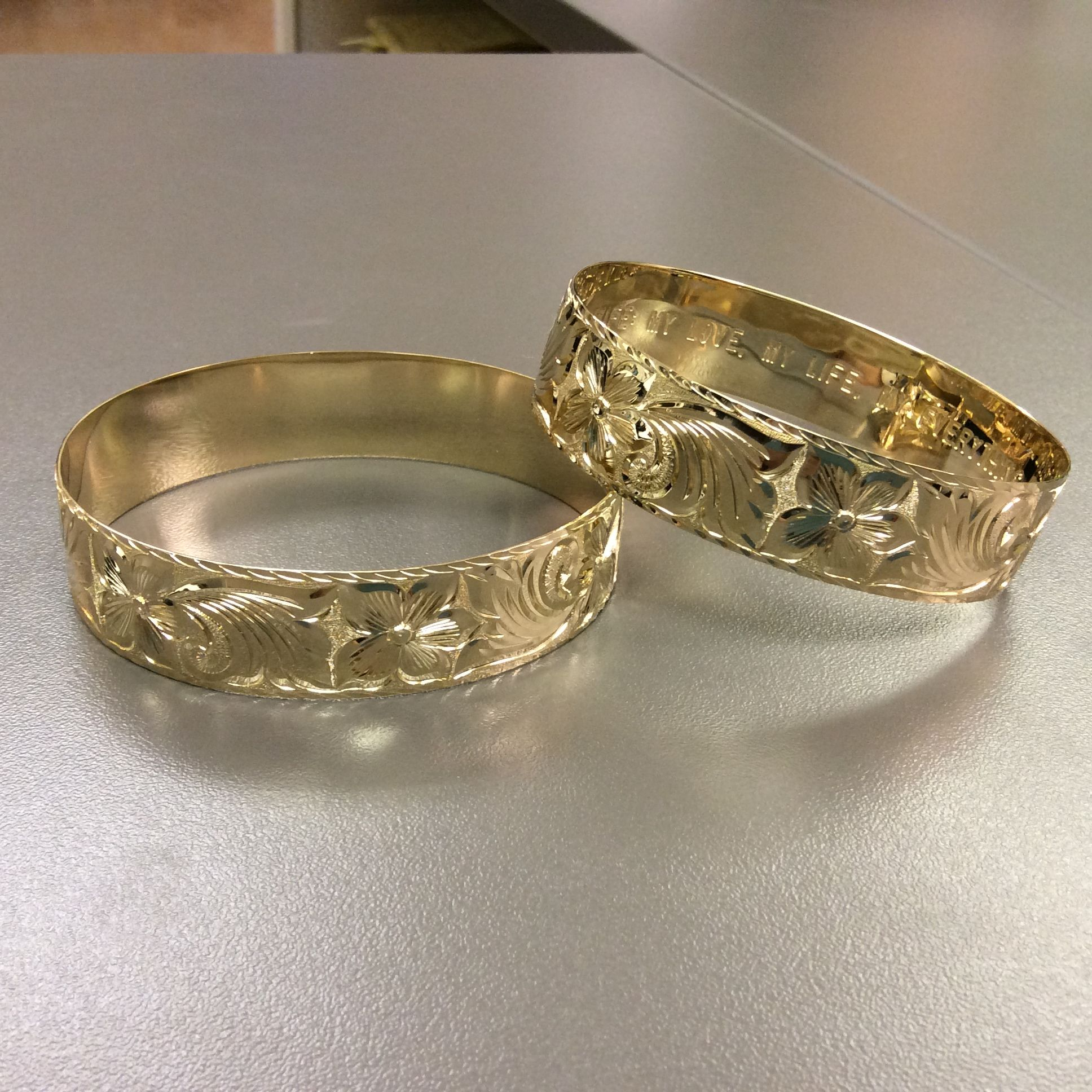 Custom 14k Yellow Gold Hawaiian Heirloom Bracelets In 18mm Lite Weight And Both With Queen Emma Design Wedding Rings Hawaiian Bracelets Custom Wedding Rings
