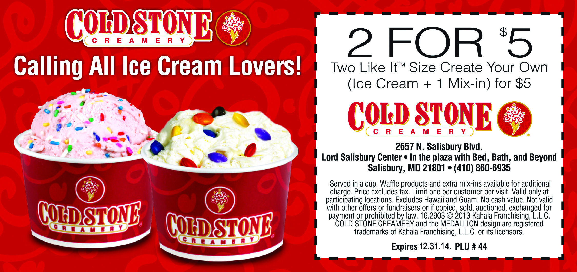 photograph about Cold Stone Printable Coupon called Pin upon Frugals Discount coupons: Printable Discount codes for Places to eat