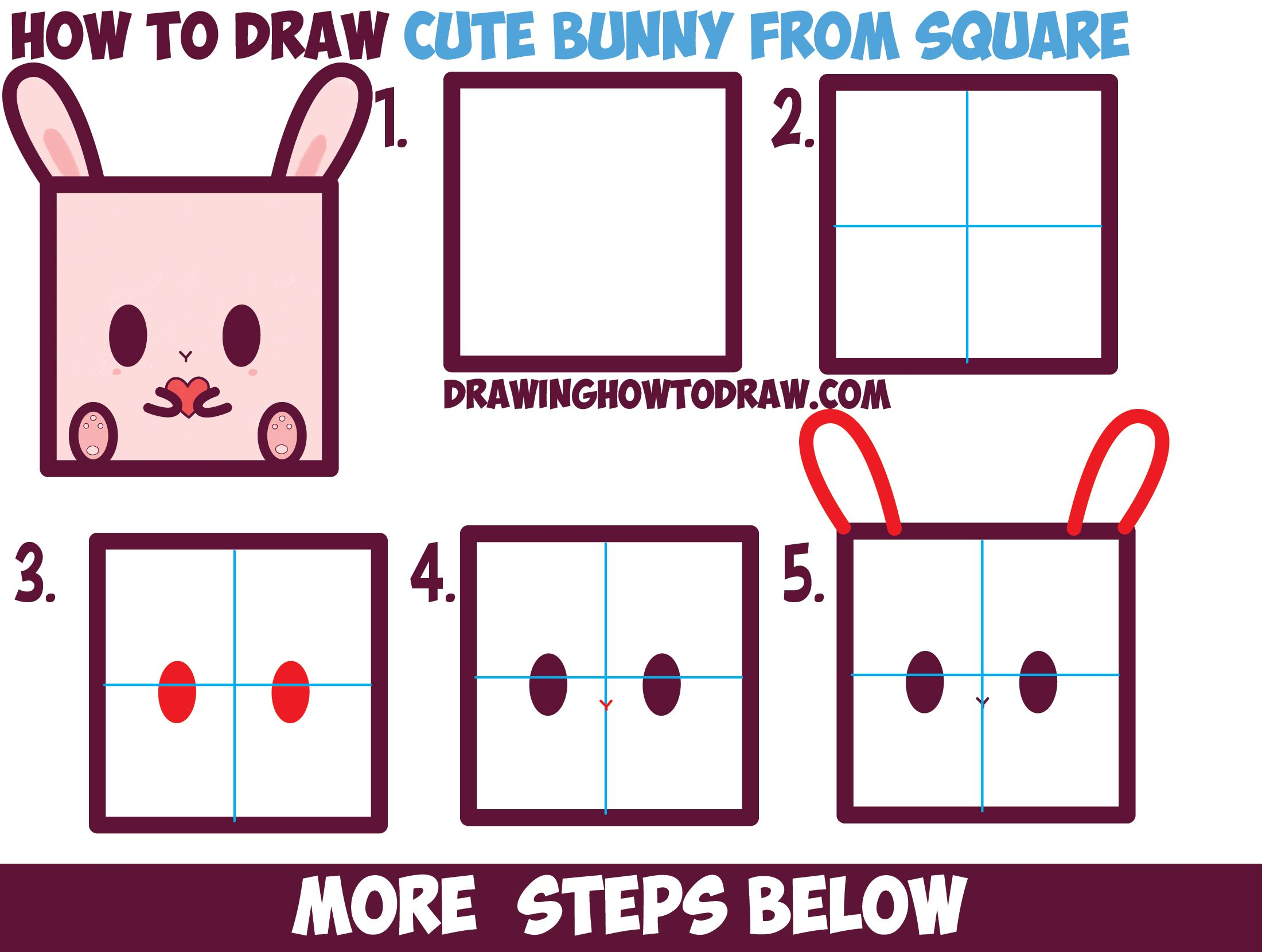 Cartoon Baby Bunny Rabbit From Squares With Easy  Step
