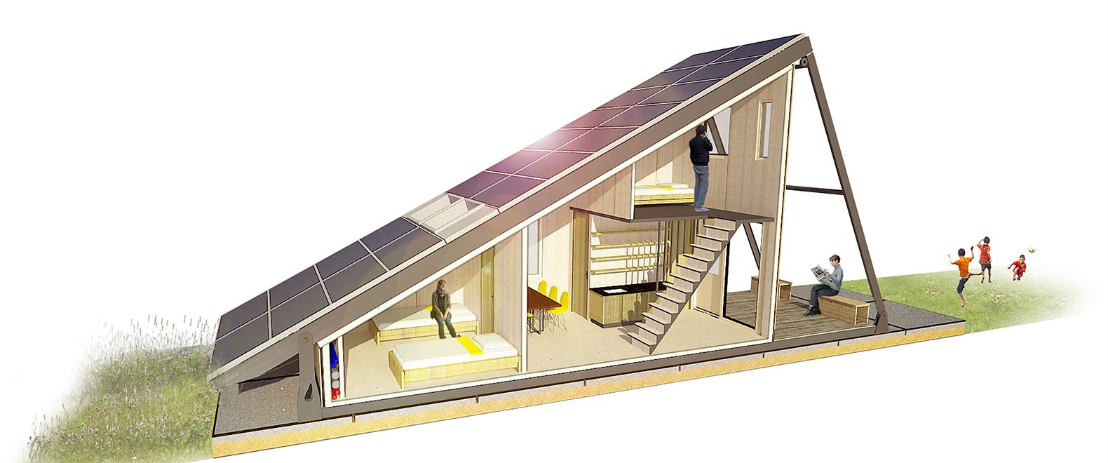 Solar Cabin Modular Refugee Housing With An Energy Generating