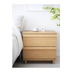 IKEA - OPPLAND, Cómoda de 2 cajones, chapa roble, , El grano natural y la rica textura de la madera se han reforzado al haber cepillado primero la chapa de nogal y después sellado con una capa de barniz mate.Gracias a los topes, los cajones se cierran de forma lenta, suave y silenciosa.Gracias a las guías ocultas, los cajones se abren y cierran suavemente incluso cuando están muy llenos.