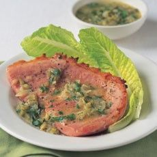 Gammon Steaks with White Wine and Gherkin Sauce
