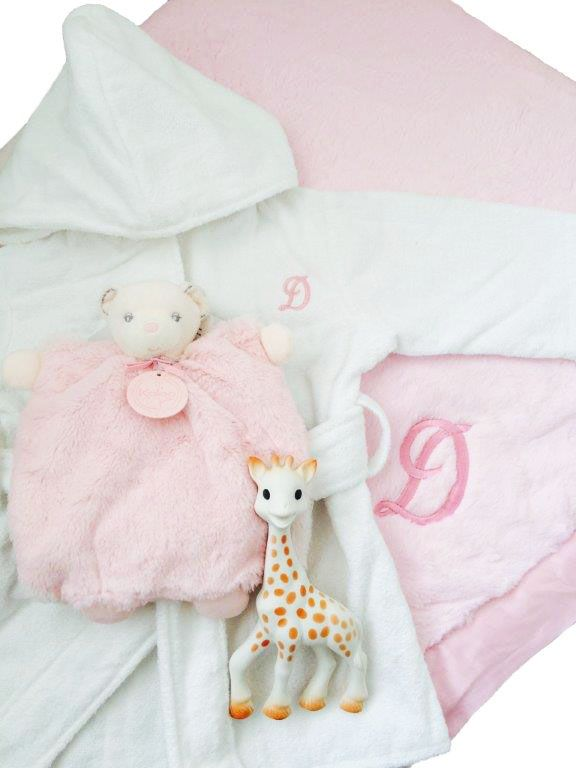 Personalized baby gift basket white velour terrycloth bathrobe personalized baby gift basket white velour terrycloth bathrobe pink little giraffe luxe crib blanket negle Gallery