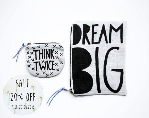 20 % OFF vente / THINKTWICE et DREAMBIG / tissu argent par AIYshop