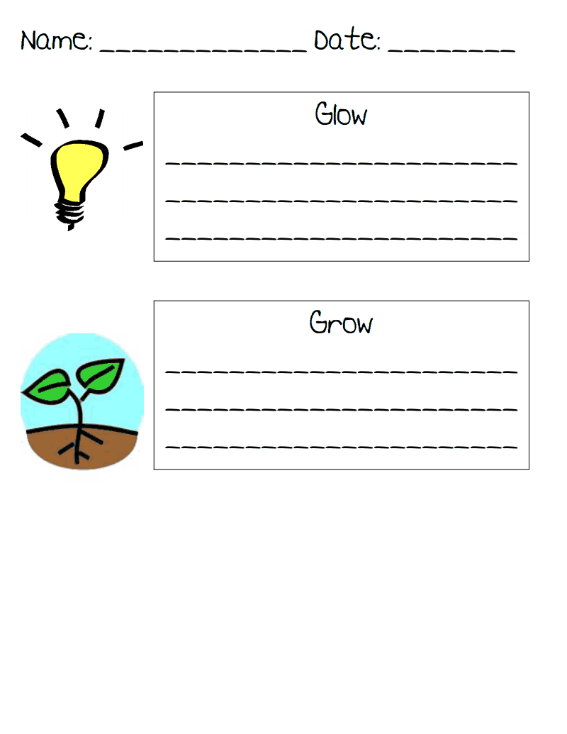 glow and grow sheet to give to parents on conference night it s