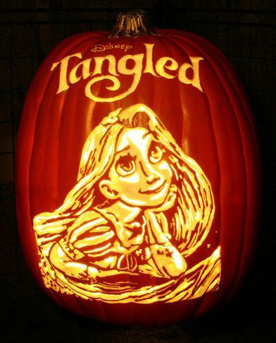 Tinkerbell halloween pumpkin halloween pumpkin diy for Rapunzel pumpkin template