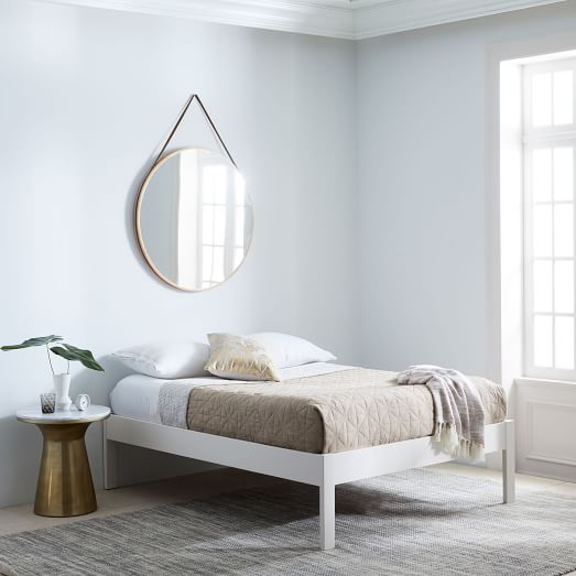 Simple Bed Frame, Twin, White Lacquer at West Elm Beds