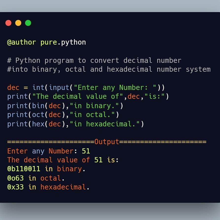 Python Program to convert Decimal Number System to other