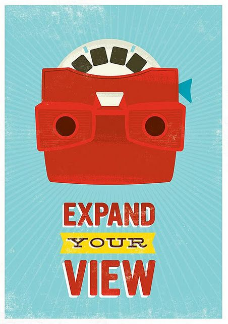 Retro poster print pop art poster mid century art nursery print inspirational quote art viewmaster expand your view