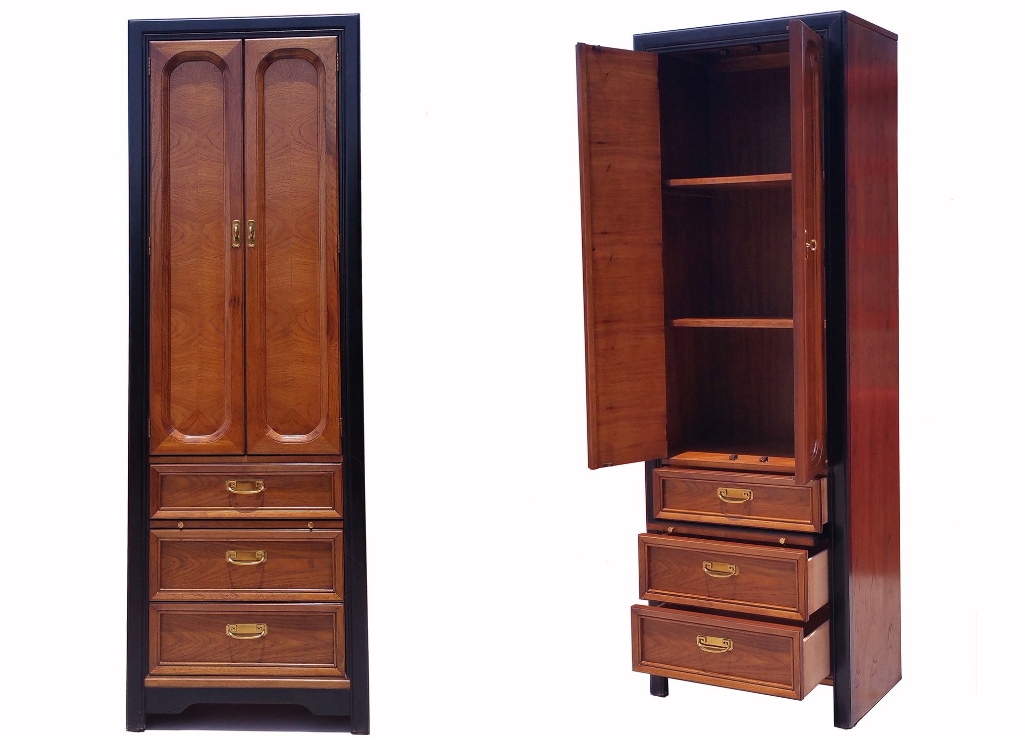 Charmant (2) THOMASVILLE OAK Tall Narrow Armoire / NightStand W/ Pull Out Tray From