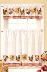 Rooster Kitchen Curtains | New Sets Chicken Rooster Kitchen Curtains  Valances | EBay