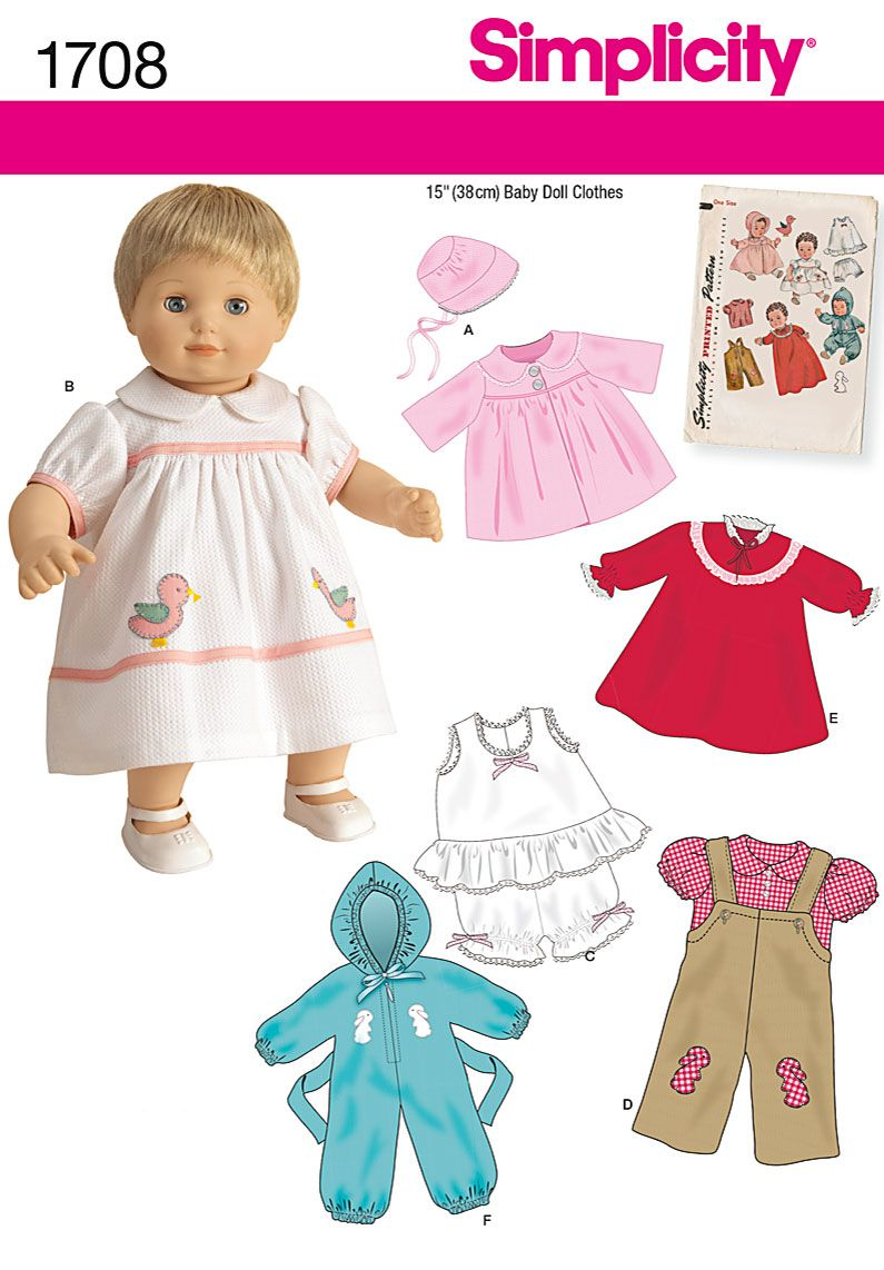 Simplicity 1708 Doll Clothes Patterns, Sewing Doll Clothes, Crochet Doll  Clothes, Crochet Dolls