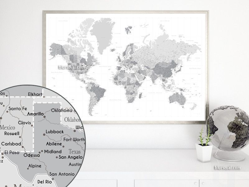 Highly detailed world map with cities capitals countries states highly detailed map printable world map with cities capitals grayscale map poster gift for him travel lover gift 014 gumiabroncs Image collections