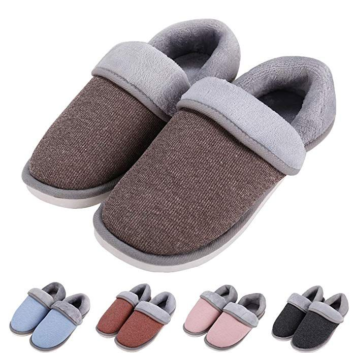 2c1452ba9958 Women s Soft Memory Foam Cotton House Slippers Open Toe Slip On Home  Slippers Cute Indoor Outdoor