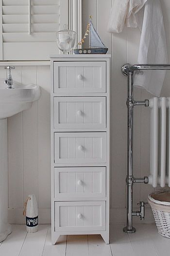 A 5 Drawer Tall Narrow Bathroom Cabinet From The Maine Range Of