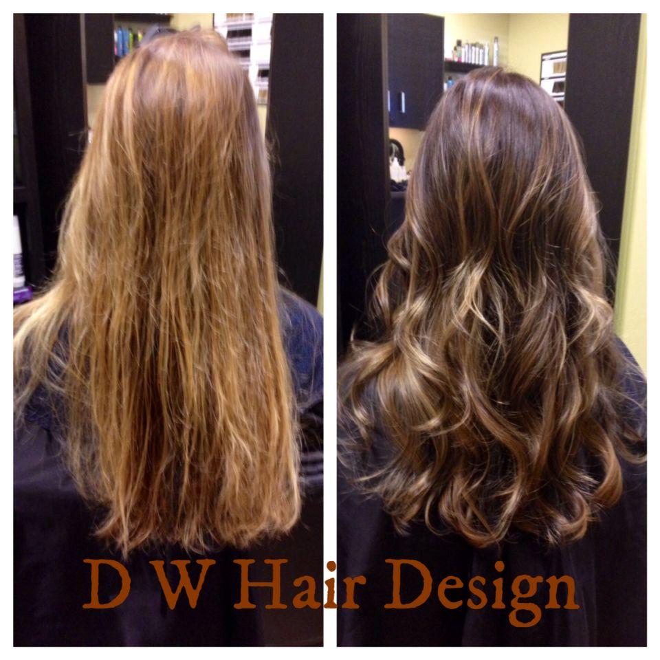 Before After Highlight Lowlights Darker Base Gloss Hair