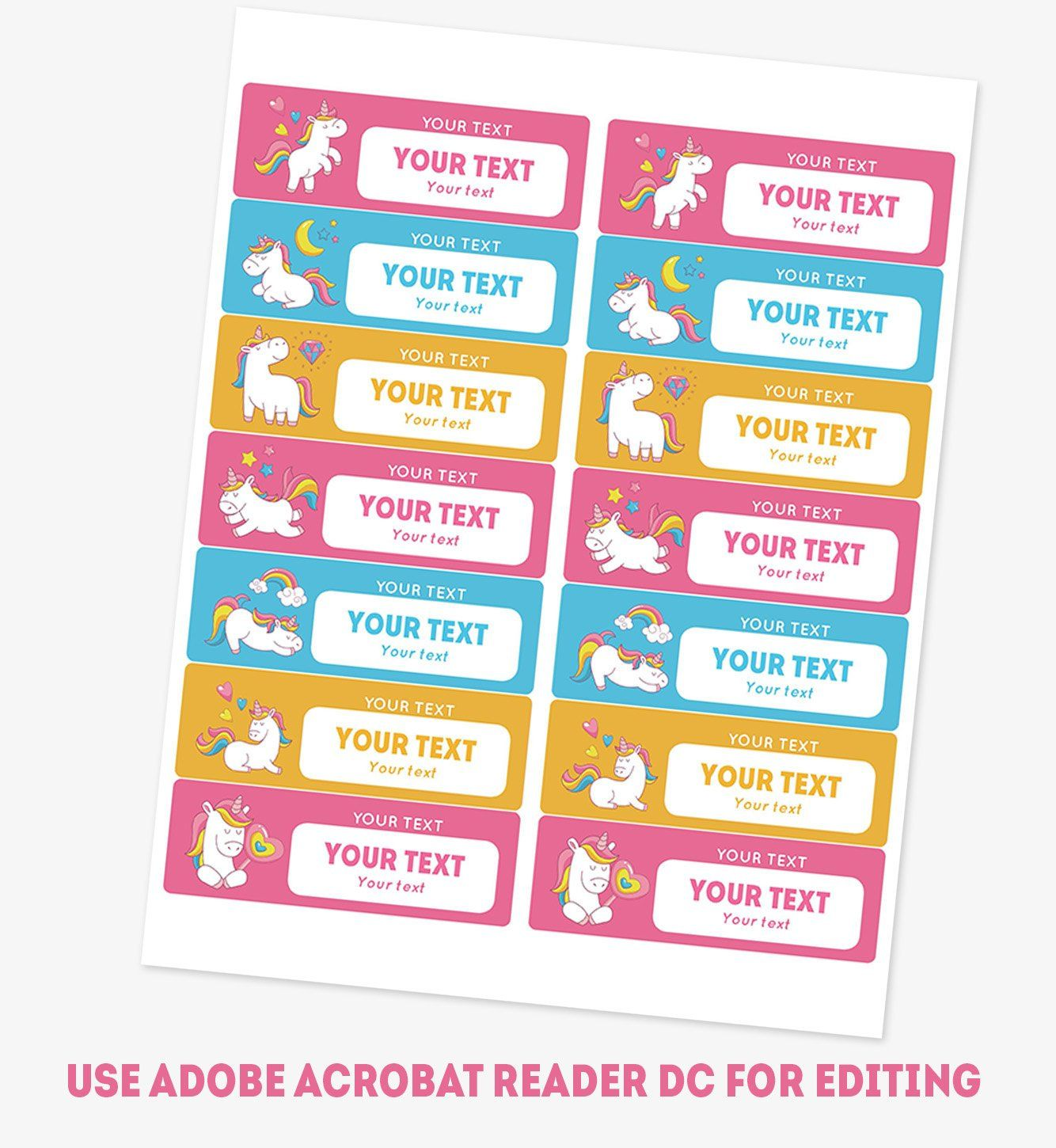 Printable Name Labels For Girls Kids School Name Tags Unicorn Daycare Name Labels Personalized School Labels Name Stickers Editable Pdf Name Tag For School School Labels Printables Name Labels Avery 8162 template for word