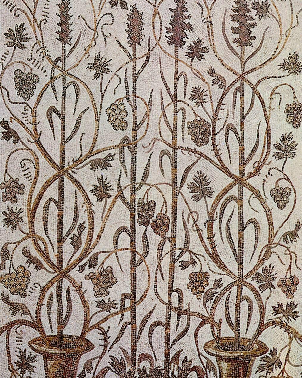 Roman mosaic of Tunisia Bardo Museum - 3rd century AD Oudna - interwined floral motifs