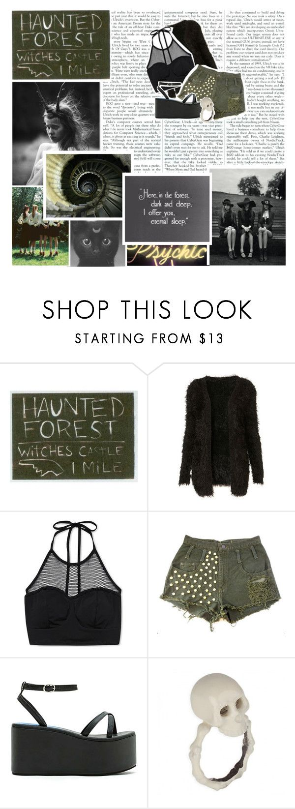 """Here in the forest dark and deep, I offer you eternal sleep"" by thequeenofreading ❤ liked on Polyvore featuring Forever 21 and Jeffrey Campbell"