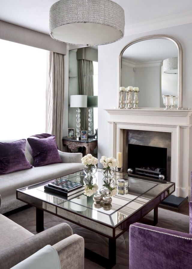 Purple and grey / silver living room   Living room grey ...