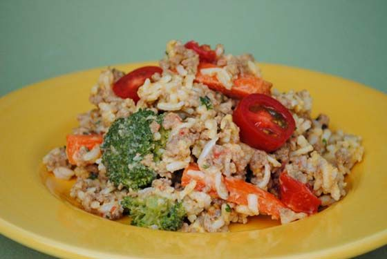 Beef & Rice Skillet. Made with ground beef, carrots, butter, pepper, four-cheese rice and pasta blend, broccoli, and cherry tomatoes.